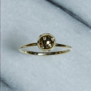 Gold Ball Ring with Diamonds 14k yellow gold